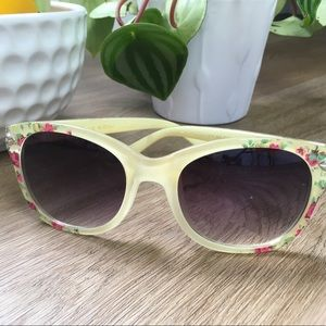Accessories - Yellow Sunglasses with Floral Pattern